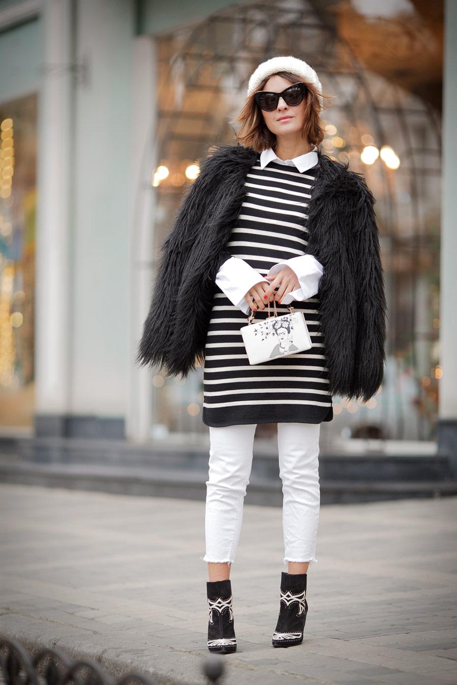 искусственный мех, шуба из искусственного меха, как одеться тепло и стильно, полосатый свитер, Елена Галант, лук на холодную погоду,