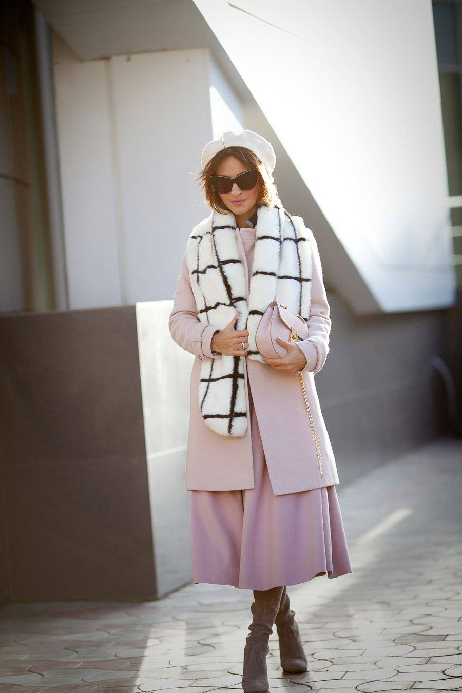 Ellena Galant, rose quartz skirt, wool beret outfits, french style, faux fur scarf outfit, fall outfit ideas,