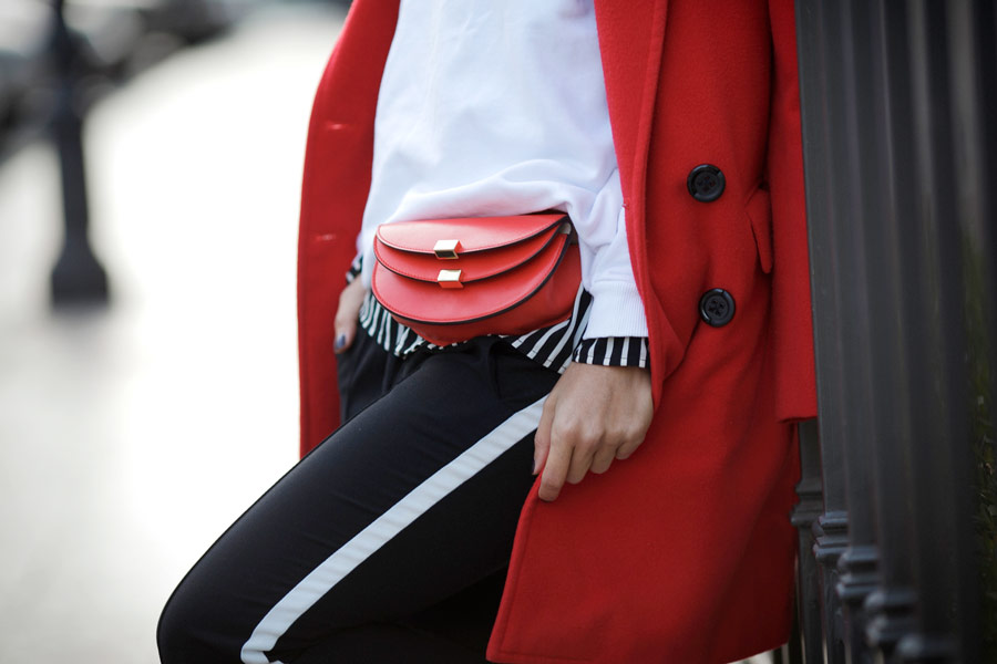 chloe georgia bag, chloe belt bag, chloe red bag, track pants outfit,