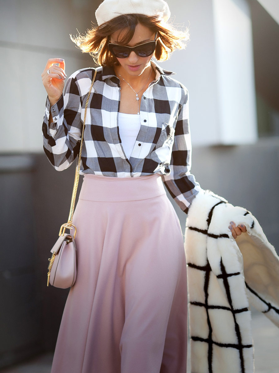 gingham shirt outfit, rose quartz skirt, wool beret outfit,