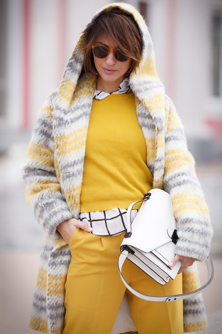 hooded plaid coat, yellow plaid coat,