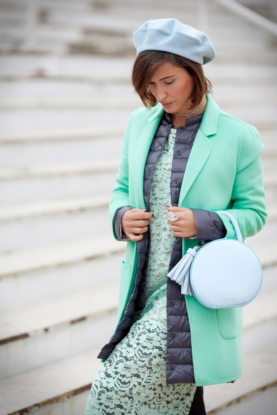 mint coat, best fall outfits, round bag outfit,