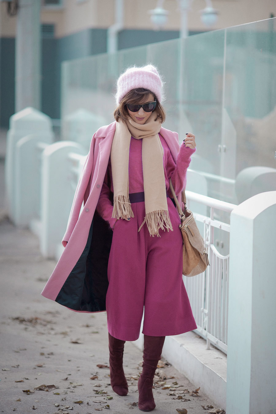total pink outfit, culottes outfits, fuchsia outfit, Ellena Galant Girl