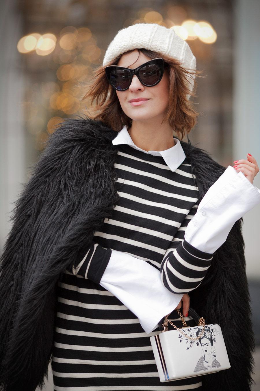 искусственный мех, шуба из искусственного меха, как одеться тепло и стильно, полосатый свитер, Елена Галант,