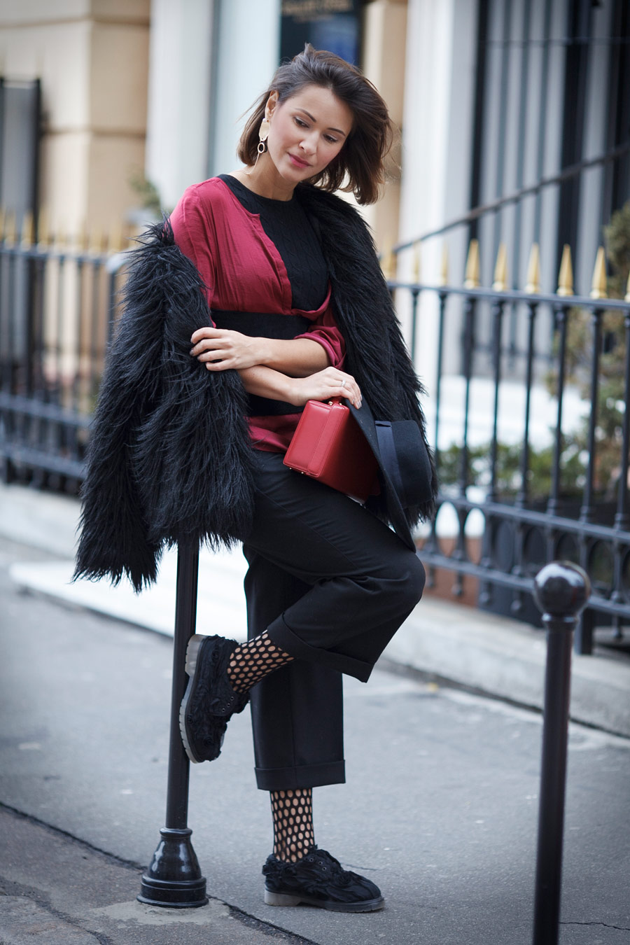 the corset trend, corset trend, culottes outfit, mark cross bag, faux fur jacket outfit, Ellena Galant Girl,