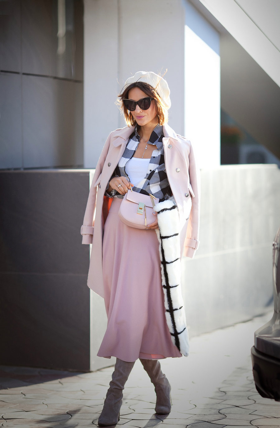 gingham shirt, rose quartz skirt, wool beret outfits, french style, faux fur scarf outfit, fall outfit ideas,