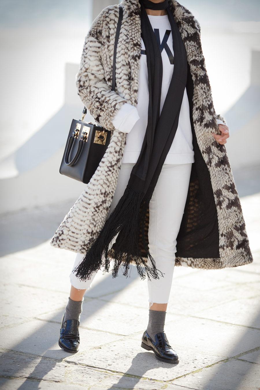 fake fur coat, sophie hulme outfits,