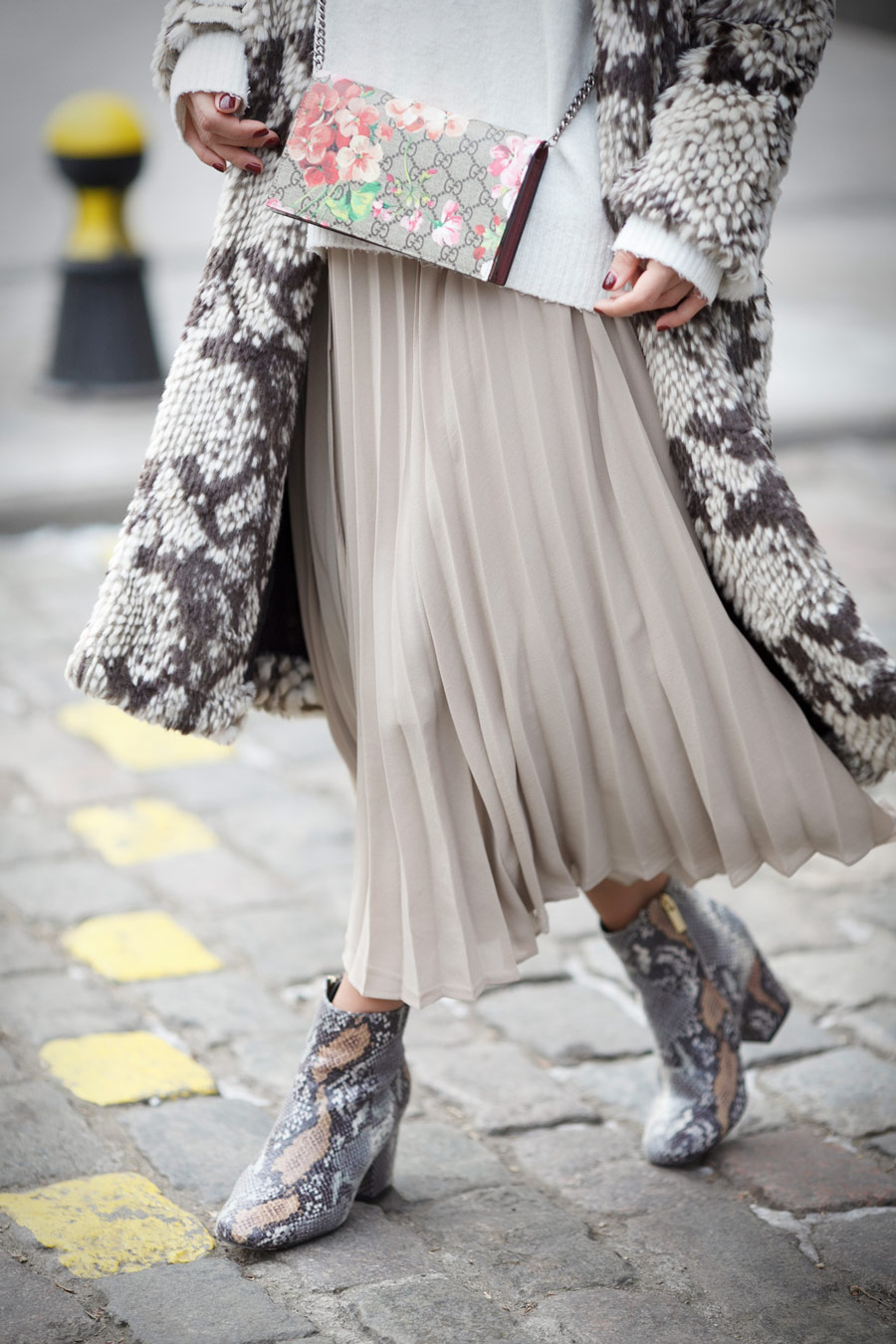 pleated skirt, python print boots, statement boots outfit,