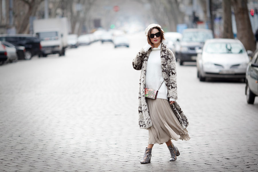 taupe outfits, pleated skirt outfits, fake fur coat outfits,