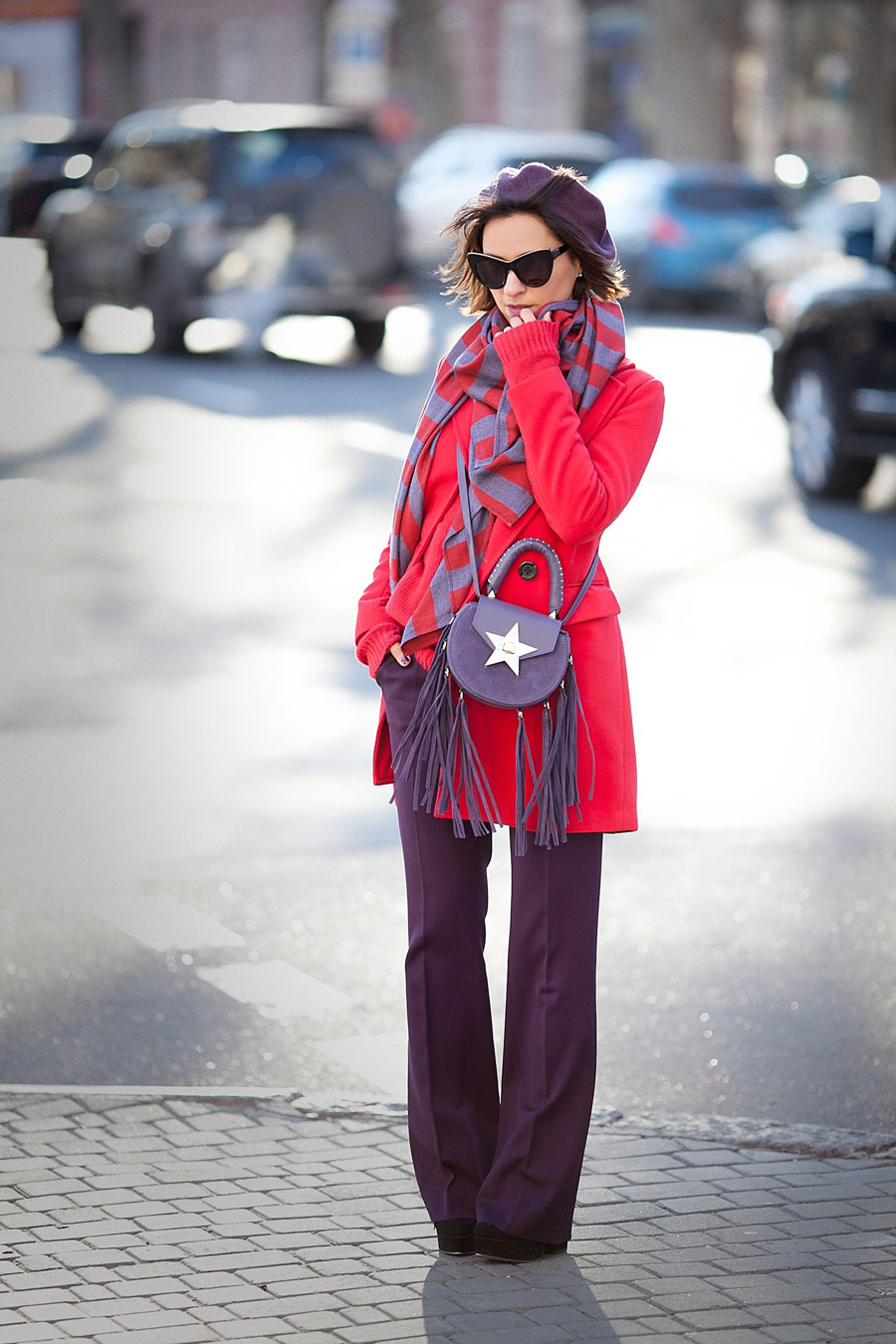 salar bag, salar milano bags, red coat outfit, colorblock outfit, winter outfit ideas,