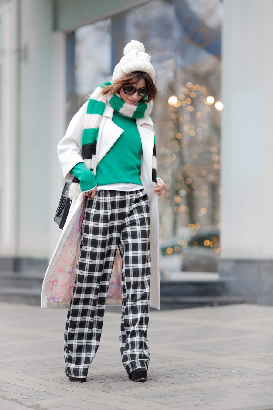 check trousers, white coat, playful winter styles,