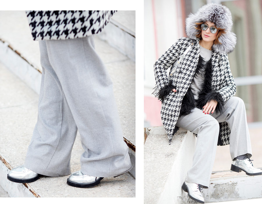 cold weather outfit, houndstooth coat outfit,