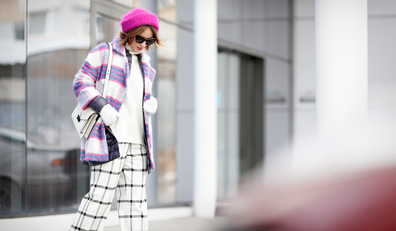winter layers, winter layering, checkered coat, checkered coat outfit, plaid coat outfit, playful winter street styles,