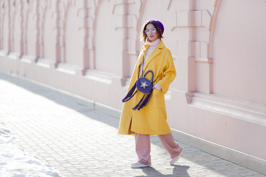 primrose yellow coat, salar bag,