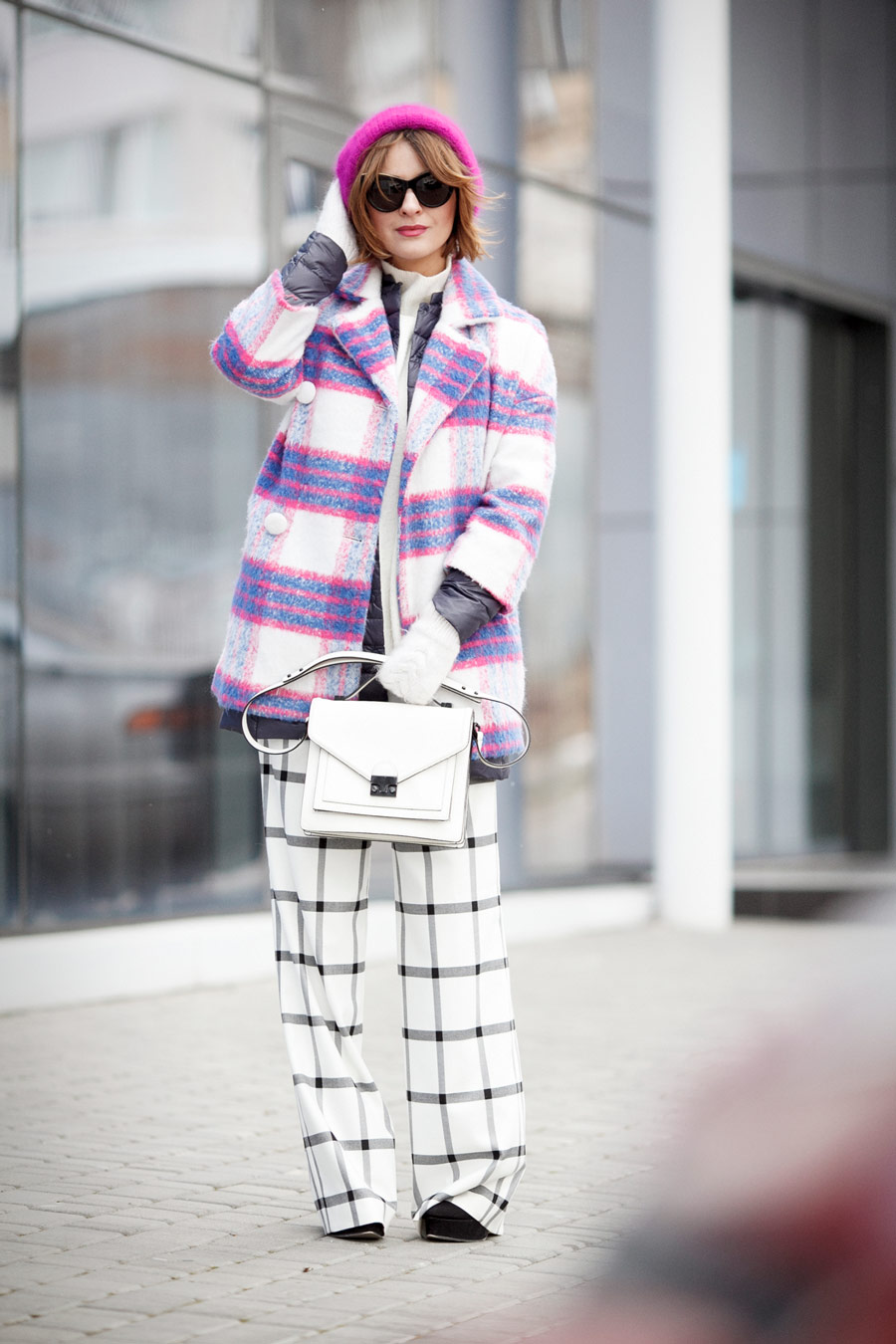 winter layers, winter layering ideas, best winter layering outfits, checkered coat, grid trousers, Ellena Galant Girl,