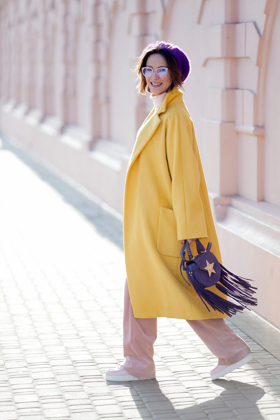playful styles, winter chic styles to try, primrose yellow coat,
