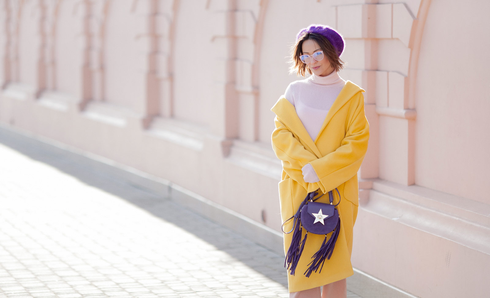 primrose yellow outfit, yellow coat outfits, Salar bag outfits,