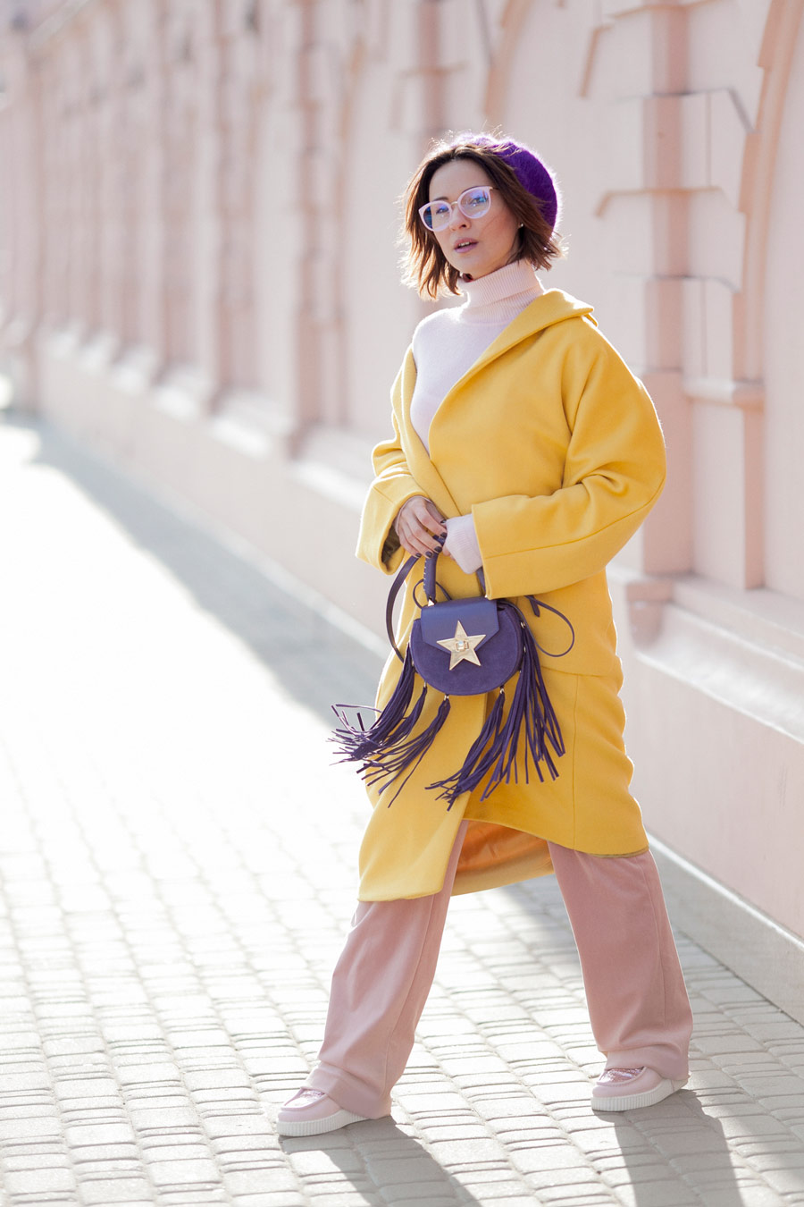 yellow primrose, yellow coat outfits, colorblock outfits, winter colorblock outfits, salar bag outfits,