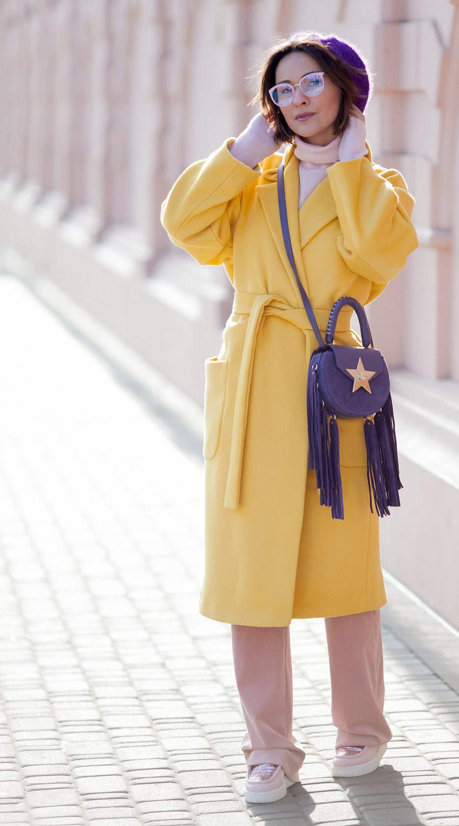 primrose yellow coat, salar bag, trending colors outfit ideas, yellow coat outfits, colorblock winter styles,