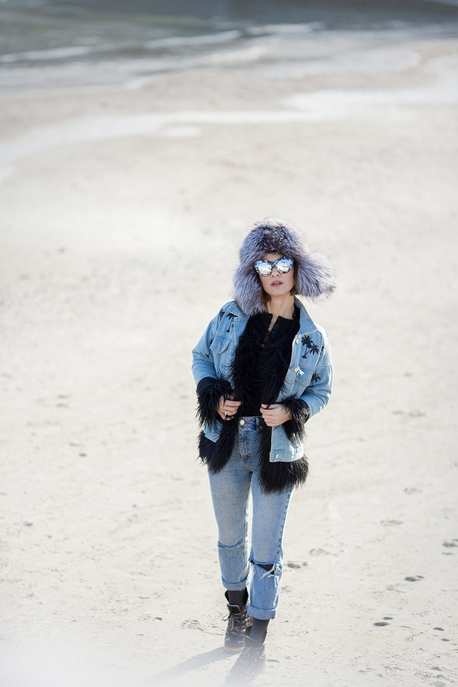 cold weather outfits, total denim winter outfit,