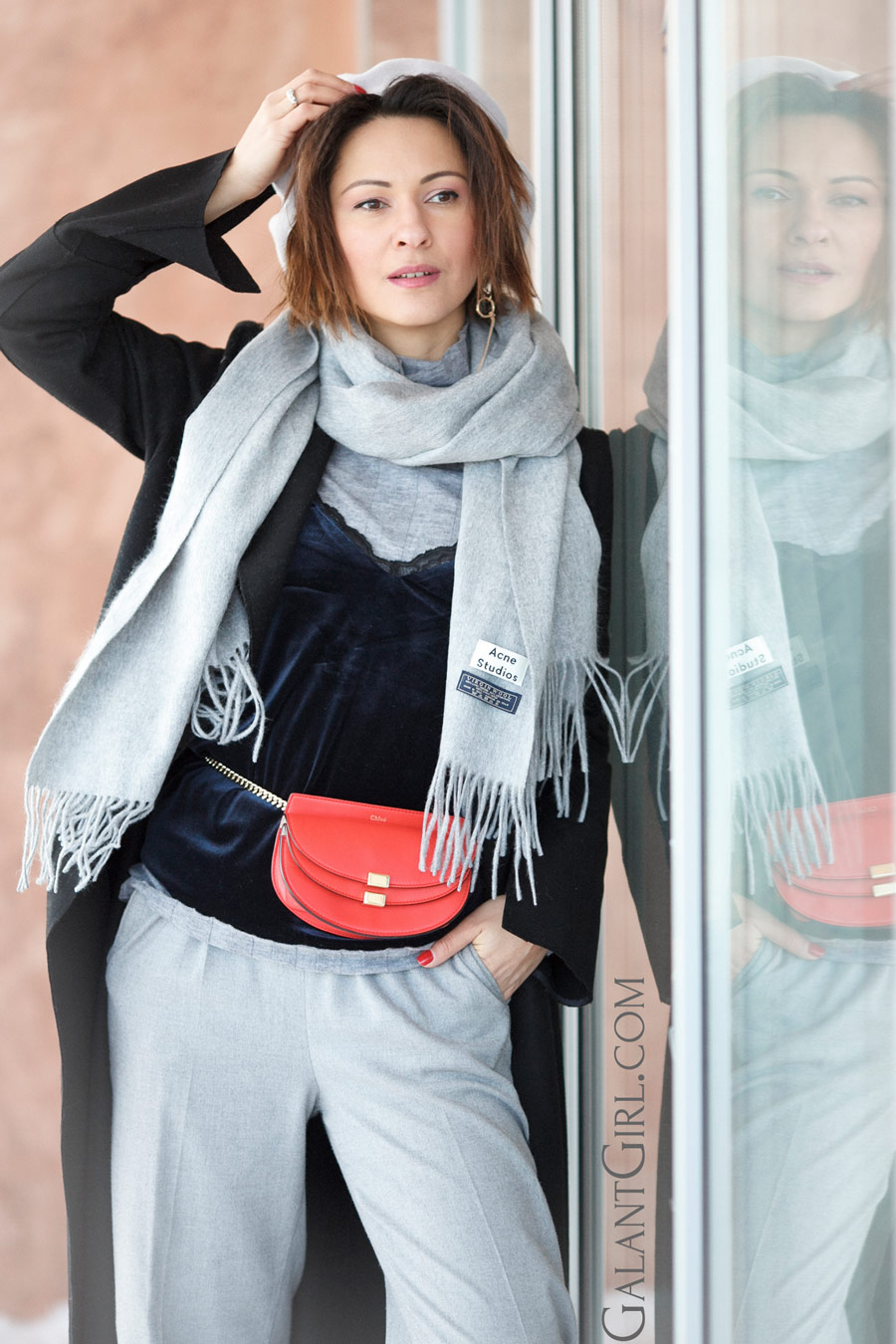 chloe georgia bag, belt bag outfit, acne studios scarf, winter outfit ideas,