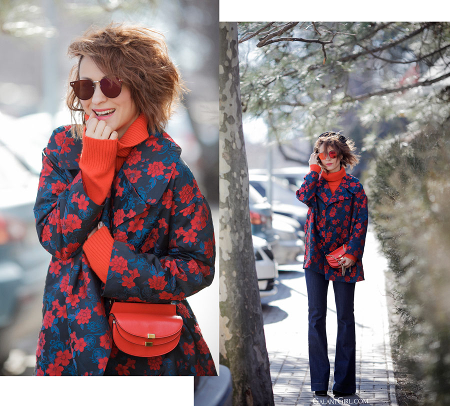 flare jeans street styles, floral printed coat outfits, Ellena Galant Girl,