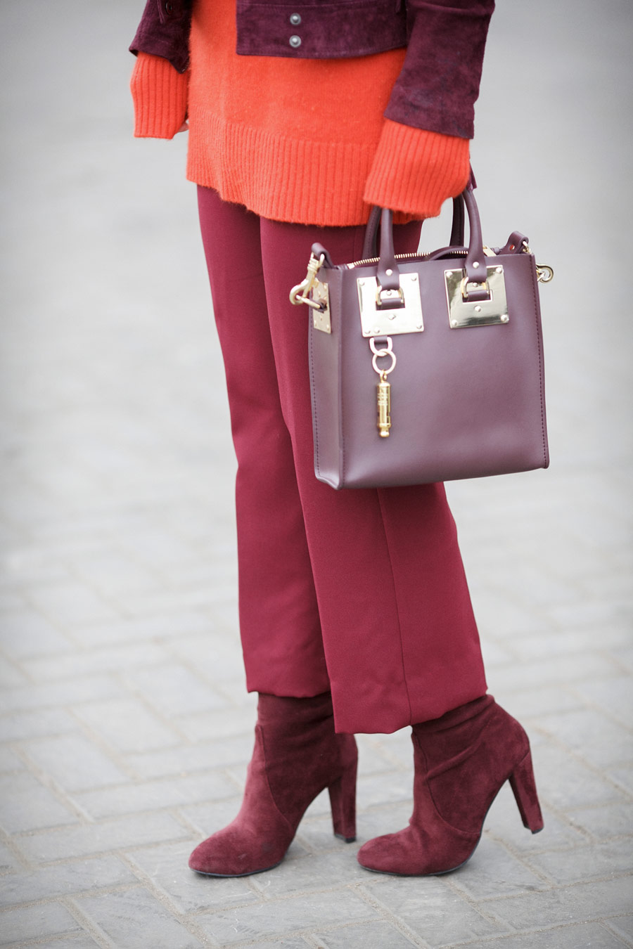 sophie hulme outfits, burgundy street styles