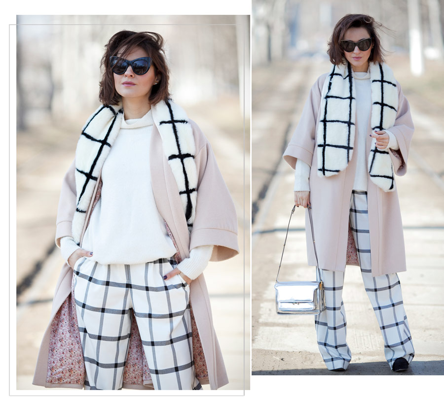 windowpane printed scarf, windowpane printed trousers outfits, metallic bag outfit, marni trunk bag outfit, feminine spring outfits,
