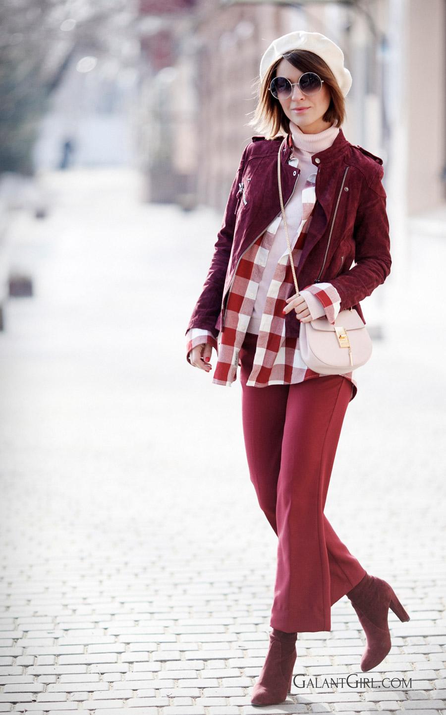 как носить цвет бургундия, с чем комбинировать бургундию, с чем сочетать цвет бургундия, фешн блоггер,