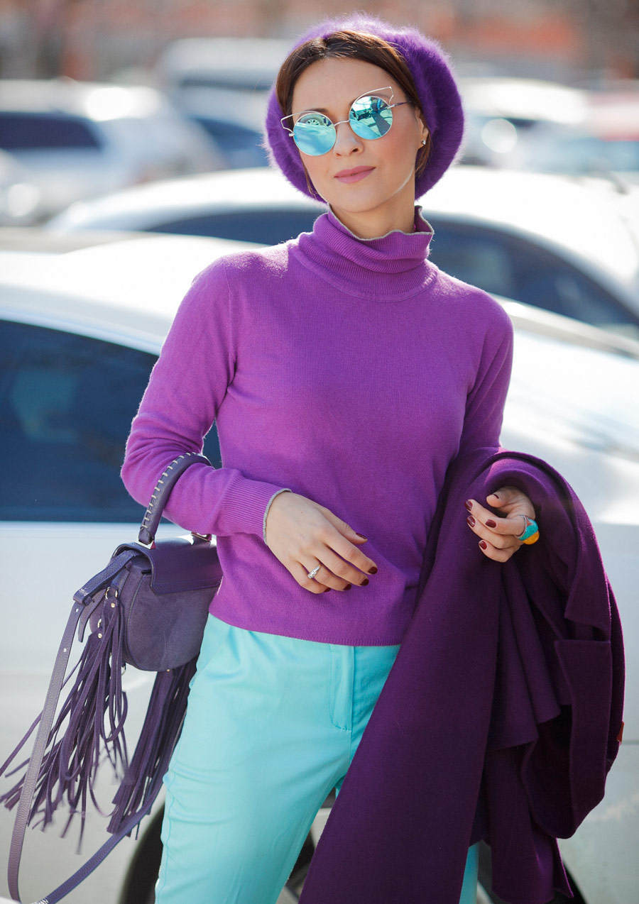 purple jumper outfit,