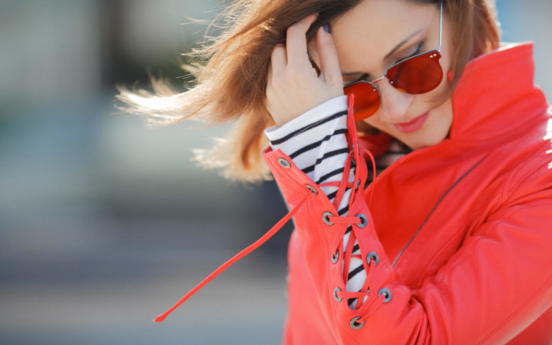 Red Biker Jacket Outfit