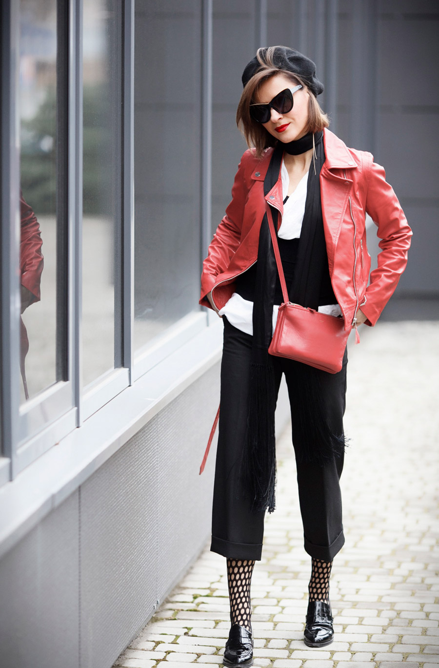 red biker jacket outfits, red moto jacket outfits, fishnet tights outfits, Parisian Chic style outfit ideas,
