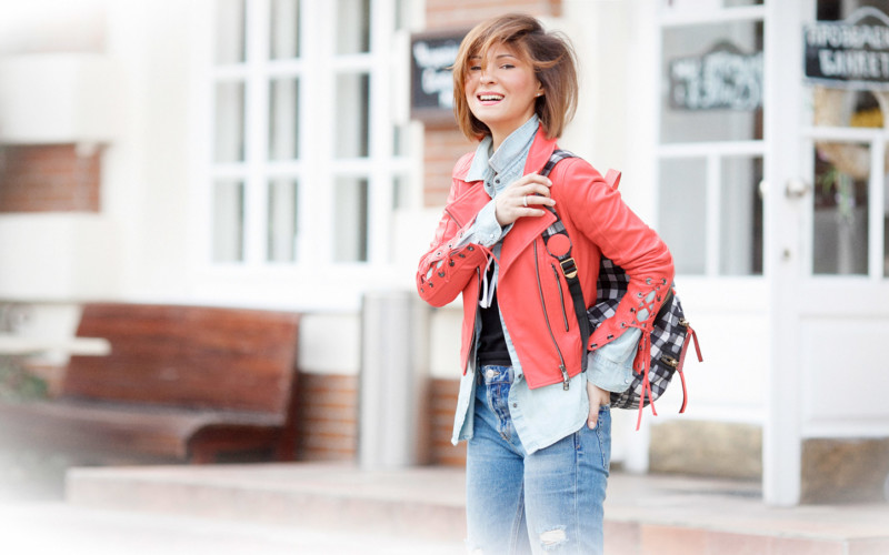 Red Moto Jacket Outfit
