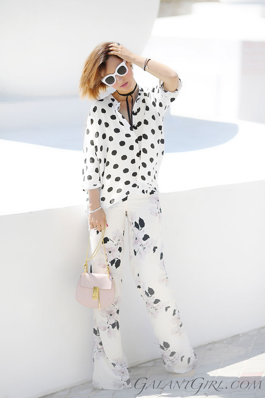 floral pants outfits, polka dot outfits, chloe drew bag,