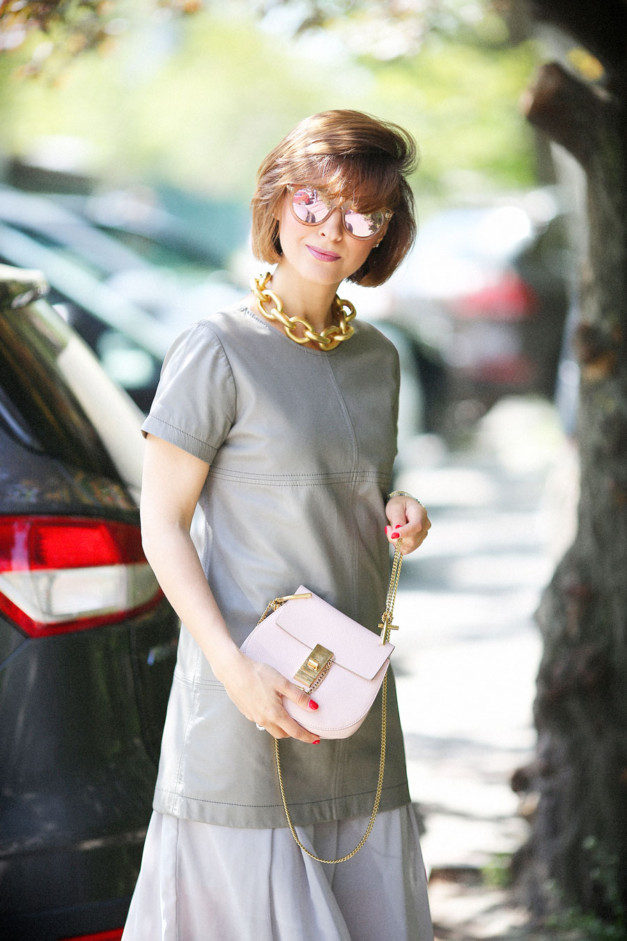 leather dress outfits, chloe drew bag outfits, Golden Accessories Outfit,