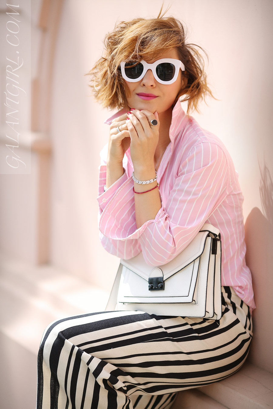 playful summer street styles, summer chic outfits, striped culottes outfits, white frame sunglasses,
