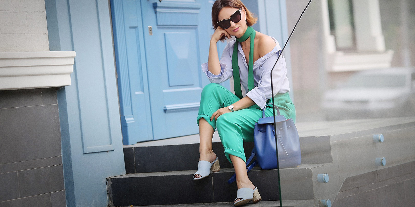 green and blue colours outfits