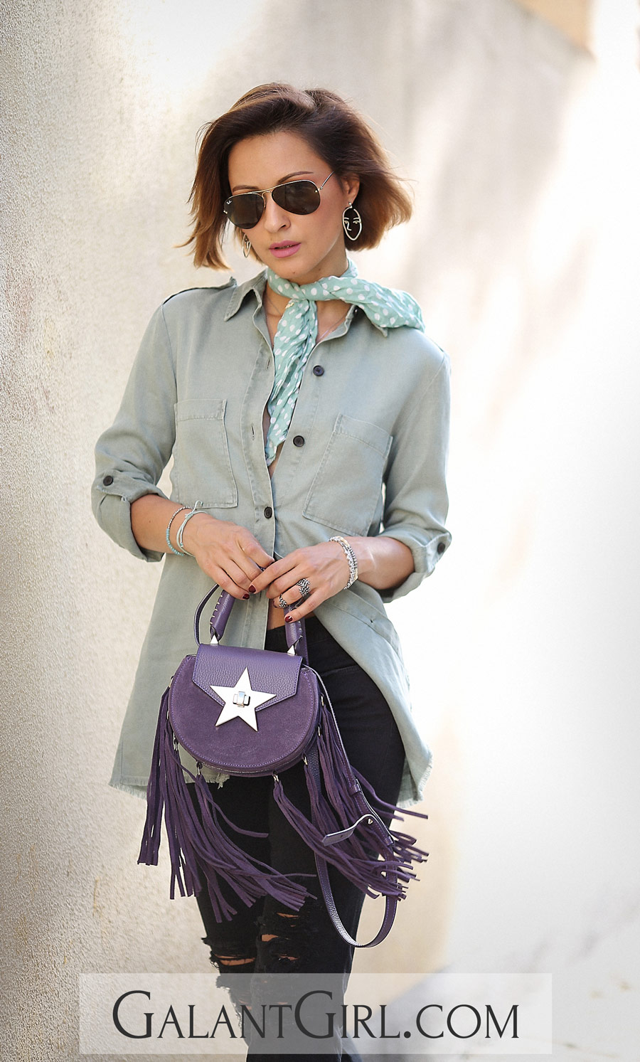 military shirt outfit ideas, salar handbag outfits,