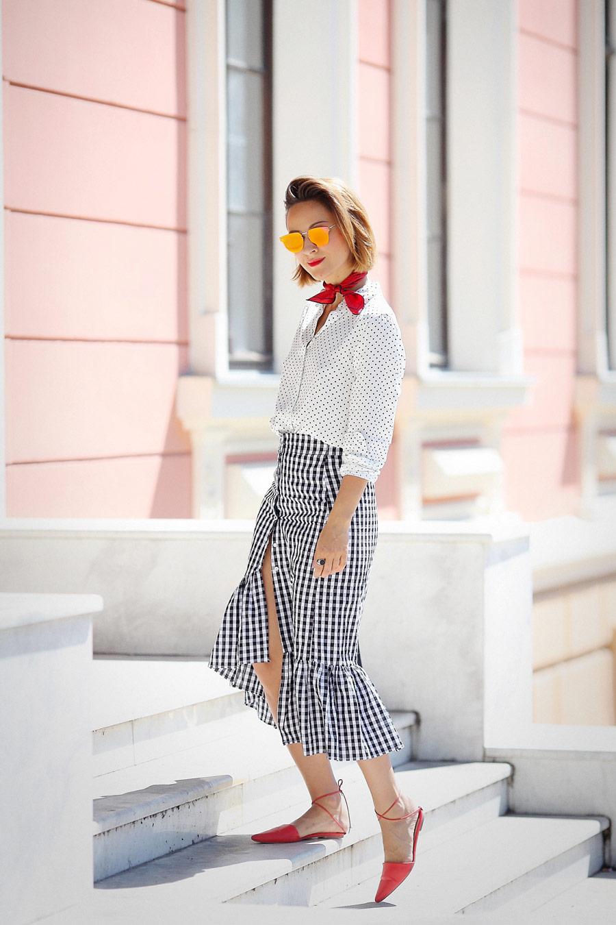 gingham print ruffle skirt,
